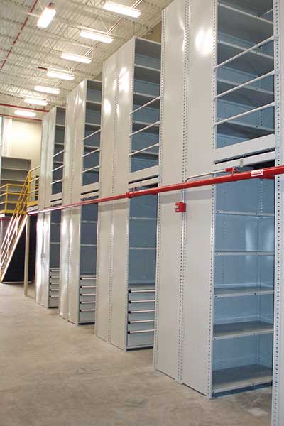 Borroughs dual level shelving for ommercial storage