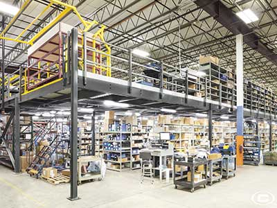 Mezzanines for parts and inventory for commercial storage
