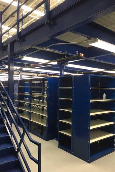 Mezzanines with lower level storage
